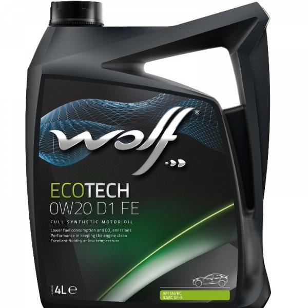 Моторное масло Wolf Ecotech 0W-20 D1 FE 4л